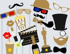 Movie Photo booth Props, Hollywood Star Photo booth Party Props, Birthday Party…