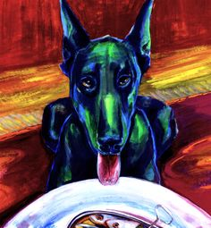 Gabriele Strehlau, Hund auf rotem Teppich, Gouache auf Papier, 40 x 35 cm, 2010, 450 €
