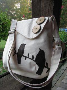 Tweeting Birds shoulder bag / purse / school bag / by LBArtworks, $69.00 LOVE IT