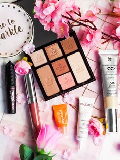 February beauty favourites including makeup and skincare products. It Cosmetics CC Cream, Charlotte Tilbury Instant Look in a Palette in Beauty Glow, Colourpop Ultra Satin Lip in November, Benefit Bad Gal Bang mascara, Clinique Pep-start eye cream, Caudalie S.O.S. The Violet Blonde - beauty and lifestyle blogger