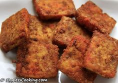 indian style baked tofu - madhuram's eggless cooking - all right. mine was a little dry, but good with dijon mustard (tasted kind of like chicken nuggets with a little lemon juice)