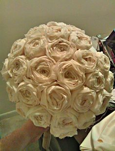 DIY fabric roses w/ link to tutorial (fabric used was 2x length than instructed on tutorial for a fuller look)
