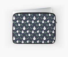Christmas and winter themed pattern of snowmen and mistletoe. It is a fun winter design suitable for all. • Also buy this artwork on laptop covers, apparel, phone cases, and more.