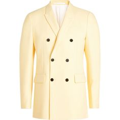 CALVIN KLEIN 205W39NYC Double Breasted Blazer (21.139.060 IDR) ❤ liked on Polyvore featuring outerwear, jackets, blazers, yellow, layered jacket, beige jacket, double breasted jacket, blazer jacket and yellow blazers