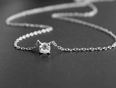 Solitary Cubic Zirconia Pendant Necklace Single by PinkChemistry