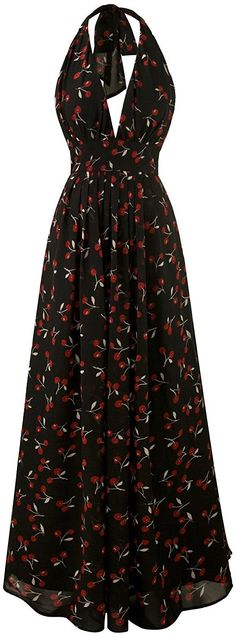 Angel-fashions Women's Halter Cheery Printed Vintage 50s Chiffon Party Prom Dress -- Wow! I love this. Check it out now! : formal dresses