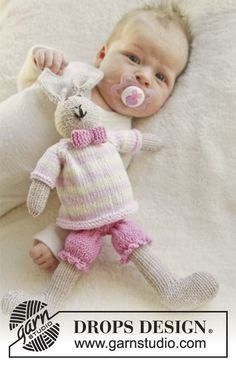 Mrs. Bunny Toy with Pants,Jumper and Bow - Free Knitting Pattern (Scroll Down) here: http://www.garnstudio.com/lang/us/pattern.php?id=6617&lang=us