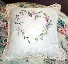 Silk Ribbon Embroidered Heart Pillow Cottage Style by mrnglry, $19.50