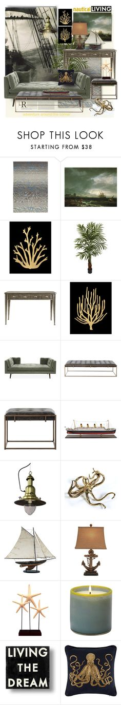 """""""Nautical Living: The Call of the Sea"""" by esch103 ❤ liked on Polyvore featuring interior, interiors, interior design, home, home decor, interior decorating, Nourison, Barclay Butera, Trilogy and Nearly Natural"""