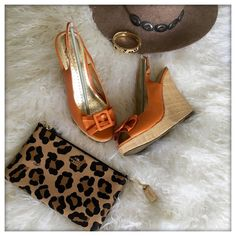 Cute and Comfy Wedges Orange Wedges. Worn only once. Shoes Wedges
