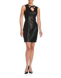 Guess Faux Leather Sheath Dress Women's Black 6