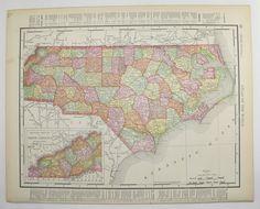 1898 North Carolina Map West Virginia Antique Map Vintage Geography Art Us State