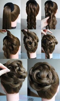 Beautiful elegant braided bun over a hair donut. Great hairstyle for a wedding or prom. 10 easy elegant wedding hairstyles that you can diy Pin by Kim on Hair and beauty Hairstyles for long and thin – Stamp Nail Desing Hairdo with donut Belleza y Estét Pretty Hairstyles, Girl Hairstyles, Braided Hairstyles, Wedding Hairstyles, Popular Hairstyles, Hairstyles Videos, Hairdos, Easy Formal Hairstyles, Super Easy Hairstyles