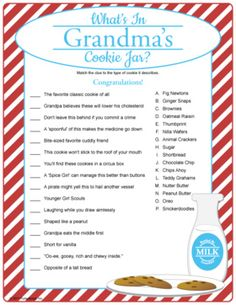 What's In Grandma's Cookie Jar? Match clues to cookies...because Grandma is sure to always have cookies for her grandkids. Baby shower game.