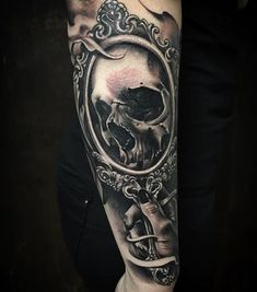 Realistic Mirror with Skull in Black and Gray
