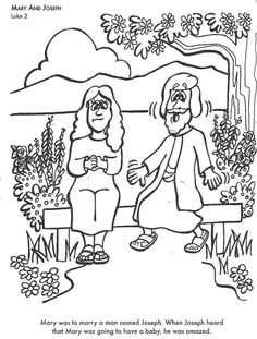 Mary And Joseph Bible Coloring Page For Kids To Learn Stories