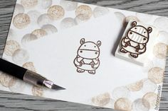 hippo stamp, animal rubber stamp, hand carved stamp, bikini stamp, summer time, baby hippo rubber stamp, hippopotamus stamp, mammal animal