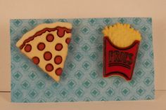 Pizza French Fries Button Post earrings Junk Food by ilovemy1984, $5.00