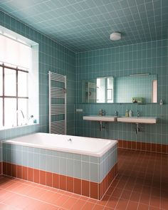 Home Decor Recibidor a light blue and rust bathroom fulled clad with tiles and diluted with whites here and there Modern Bathroom Design, Bathroom Interior Design, Home Interior, Bathroom Designs, Bad Inspiration, Bathroom Inspiration, Bathroom Inspo, Furniture Inspiration, Bathroom Ideas