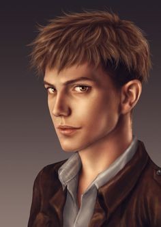 I'm gonna have to pin all of these realistic Attack on Titan portraits.  Jean Kirschtein by trixdraws