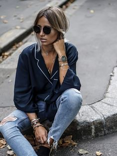 These bloggers prove just how easy the pajama trend is to pull off. Style a pajama-style top with a pair of blue jeans, and elevate the look with block-heeled pumps. Alternatively, opt for...