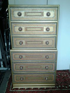 Moroccan Design Art Deco Chest on Chest or Two Chest of Drawers £225.00 Bottom chest:   Height: 76.5 cm   Width: 80 cm   Depth: 42 cm   Top Chest:   Height: 69 cm plus feet 9 cm, makes total 78 cm   Width: 75 cm   Depth: 42 cm   Overall height of the two, chest on chest: 145.5 cm
