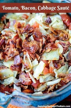 Tomato, Bacon And Cabbage Sauté - This easy cabbage and bacon recipe is about to be a new favorite! With tomato, bacon and cabbage, you can have this side dish sautéed up in only minutes! Cabbage Recipes, Bacon Fried Cabbage, Sauteed Cabbage, Bacon Recipes, Cooking Recipes, Cooking 101, Quiche Recipes, Clean Recipes, Recipes