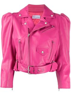 Pink lamb-skin puff-sleeve leather jacket from RED Valentino featuring notched lapels, long puff sleeves, front zip fastening pockets, front flap pocket and belted waist. #clothing #costumes #fashionista #fashion #outfits #jacket #leatherjacket #leatherjackets #outwear #fashionblogger #apparel #onlineshipping #style #coat #lifestyle #jackets #front #fastening #from #lambskin #jacket #long #front #sleeves #pockets #puffsleeve #belted #featuring #leather #and #flap #pocket #lapels #puff #waist… Leather Vest, Suede Jacket, Fur Jacket, Leather Jackets, Pink Leather, Red Valentino, Celebrity Outfits, Jackets For Women, Puff Sleeves