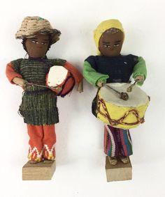 Handmade Vintage Hispanic 2 Men Drumming Dolls Primitive Ethnic Guatemalan Doll Carnival Drums Mardi Gras Creepy Dolls Altered Art Supply by injoytreasures on Etsy