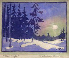 Valentine Fanshaw (1878-1940) - Silent Night. Woodblock Print.