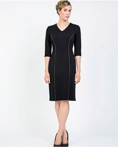 KERSEY BLACK JERSEY WITH BLUE LEATHER PIPING - British Affordable Luxury Womenswear – Designer Day-To-Evening Dresses