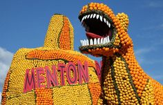 Decorations during a celebrations: on the lemon festival of Menton people make a sculpture made up of lemons.