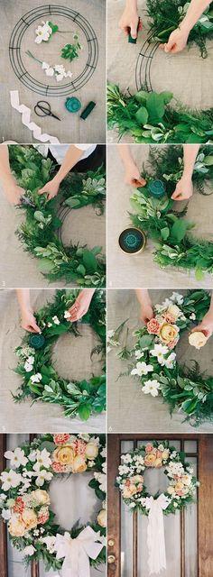 DIY Wedding Wreath from Rosegolden Flowers