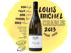Chablis is known for its razor-sharp expressions of the chardonnay grape. Vines in this cool climate grow on soils studded with the fossilized seashells of ancient seabeds, and the resulting wines have lots of acidity and minerality. Louis Michel Chablis 2013 illustrations, typography and handletting for wine column