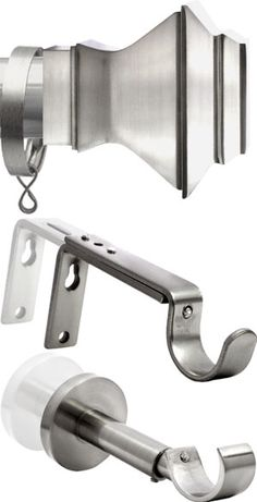 Satin Silver Curtain Pole set from Italia MIlano Poles range. A very popular satin silver Curtain pole with Aztec finials. Suitable for light to heavy weight curtains and straight runs.