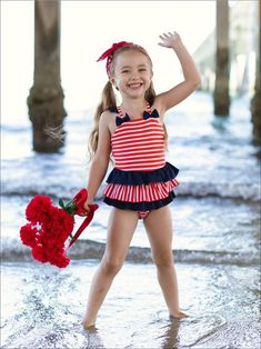 Girls Mesh Ruffled One Piece Swimsuit with Contrast Flower – Mia Belle Baby Unique Swimsuits, Two Piece Swimsuits, 4th Of July Swimsuits, One Piece Swimsuit Red, Toddler Swimsuits, Ruffle Swimsuit, Striped One Piece, Kids Swimwear, Blue Bow