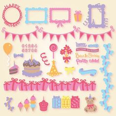 Birthday Elements SVG Collection : SVG Files for Silhouette, Sizzix, Sure Cuts A Lot and Make-The-Cut - SVGCuts.com