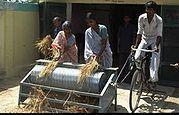 Bike powered rice threshing