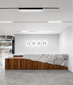 Uber office// kind of a cool effect for a two-level kitchen bar, though