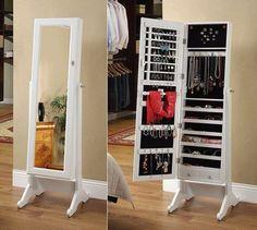 New jewerly storage mirror closet Ideas Storage Mirror, Diy Mirror, Diy Storage, Storage Ideas, Small Storage, Long Mirror, Full Mirror, Hidden Storage, Mirror Organiser