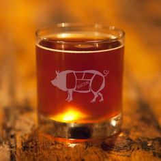 Etched Pig Whiskey Glasses - Set of 2