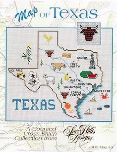 Texas Map - Cross Stitch Pattern  @Misty Gigliotti
