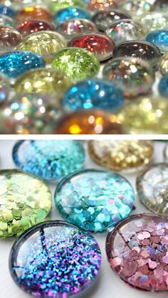 "diychristmascrafts:  "" DIY Cheap and Easy Glitter Magnet Tutorials. You can find a big bag of these flat back marbles at the Dollar Store or any craft store. For lots of magnet DIYs go here: truebluemeandyou.tumblr.com/tagged/magnets  • Top Photo:..."