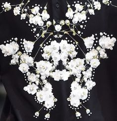 An up close view of the floral and pearl details at Givenchy