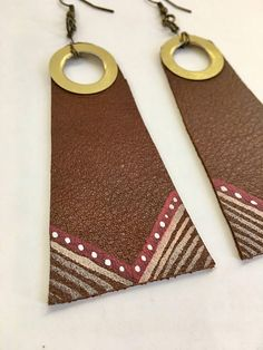 Gold Gromet Painted Leather Earrings Painted Leather
