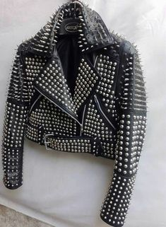 Made To Order Black Cropped Biker Full Punk Spiked Studded Real Leather Jacket 100 % Genuine Cowhide Leather Fine premium stitching Inner Lining inside Pocket High Quality Studs are Used Classic Fashionable Studded Work Custom Color Chang. Real Leather, Leather Men, Leather Jackets, Cowhide Leather, Black Leather, Studded Leather Jacket, Band Outfits, Punk Rock Fashion, Jacket Style