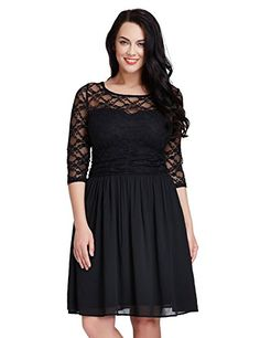 LookbookStore Womens Plus Size Lace Top Chiffon Skirt A-line Skater Formal Dress - http://www.darrenblogs.com/2017/03/lookbookstore-womens-plus-size-lace-top-chiffon-skirt-a-line-skater-formal-dress/