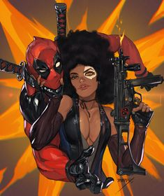 afro bare shoulders black gloves black hair bodysuit breasts brown eyes cleavage dark skin deadpool deadpool (movie) deadpool 2 detached sleeves domino (marvel) facepaint fingerless gloves firing gloves grabbing gun hand on another's chin hands Domino Marvel, Marvel Comics, Bd Comics, Ms Marvel, Marvel Art, Marvel Heroes, Heroes Comic, Black Cartoon, Girl Cartoon