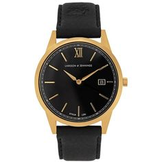 Womens Watches Larsson & Jennings Saxon Gold-plated Watch ($495) ❤ liked on Polyvore featuring jewelry, watches, black watches, kohl jewelry, gold plated watches, black jewelry and black wrist watch