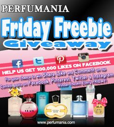 Every Friday, Perfumania.com gives away a FREEBIE check out our facebook, instagram, twitter and of course here on pinterest for chances to win!